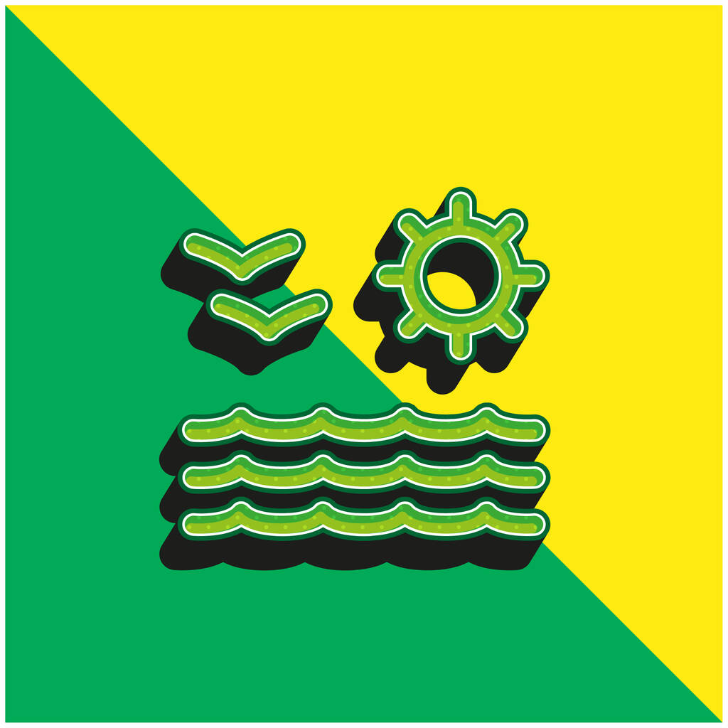Beach View Of Sea Sun And Seagulls Couple Green and yellow modern 3d vector icon logo