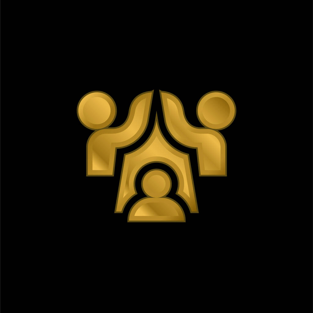 Agreement gold plated metalic icon or logo vector