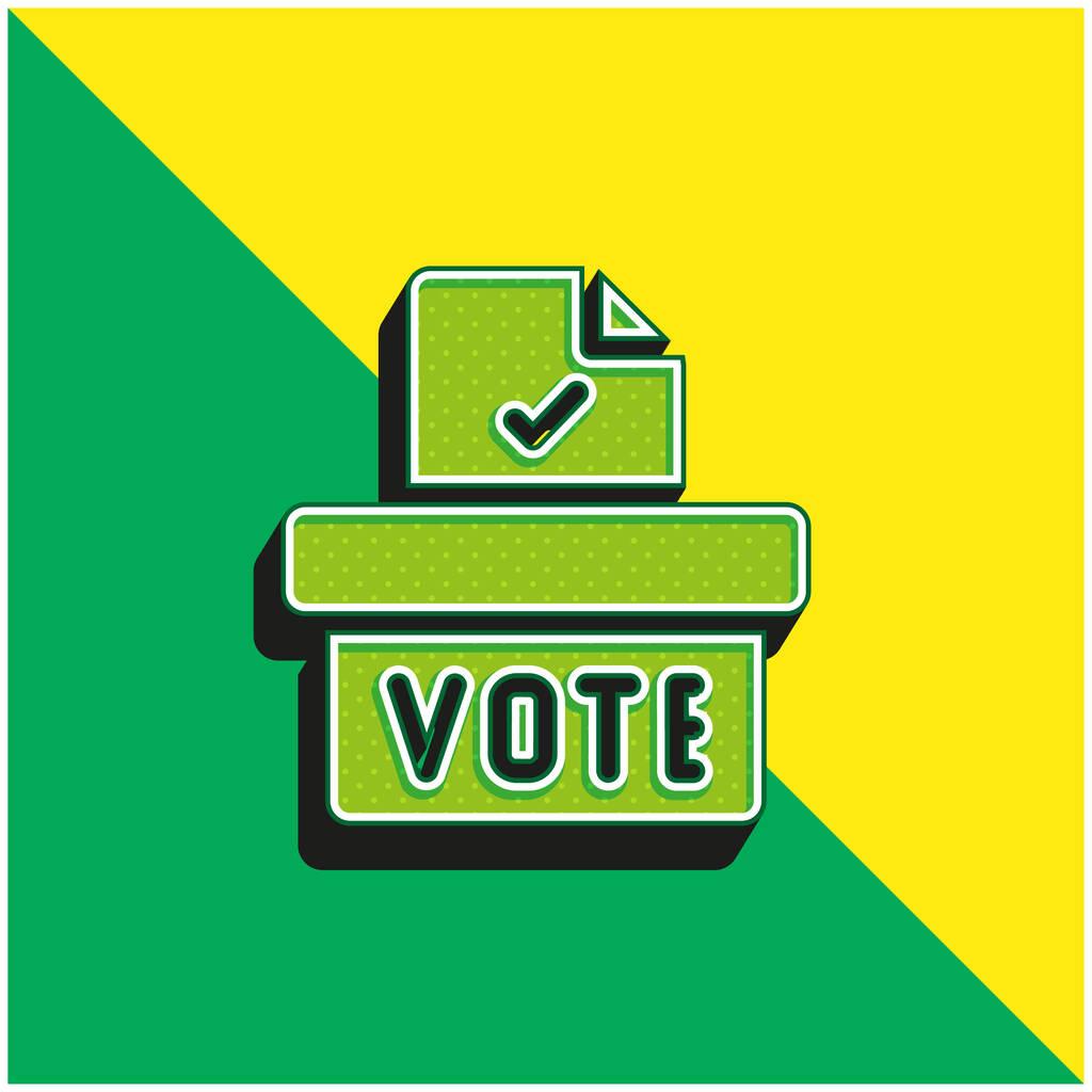 Ballot Box Green and yellow modern 3d vector icon logo