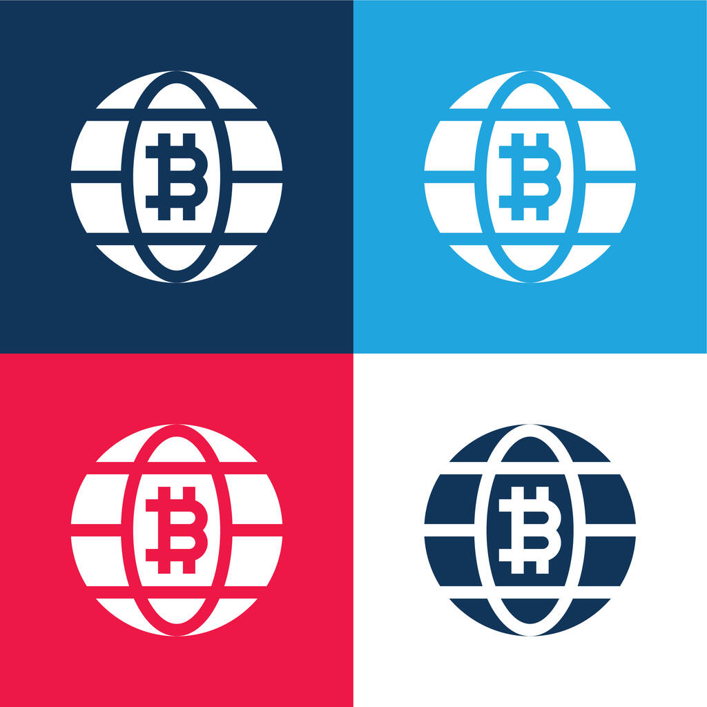 Bitcoin blue and red four color minimal icon set