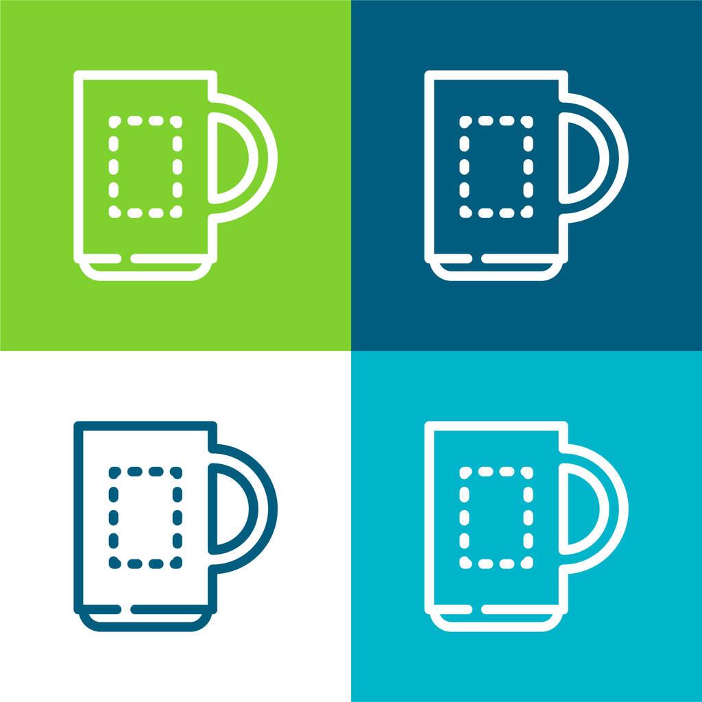 Big Mug Flat four color minimal icon set