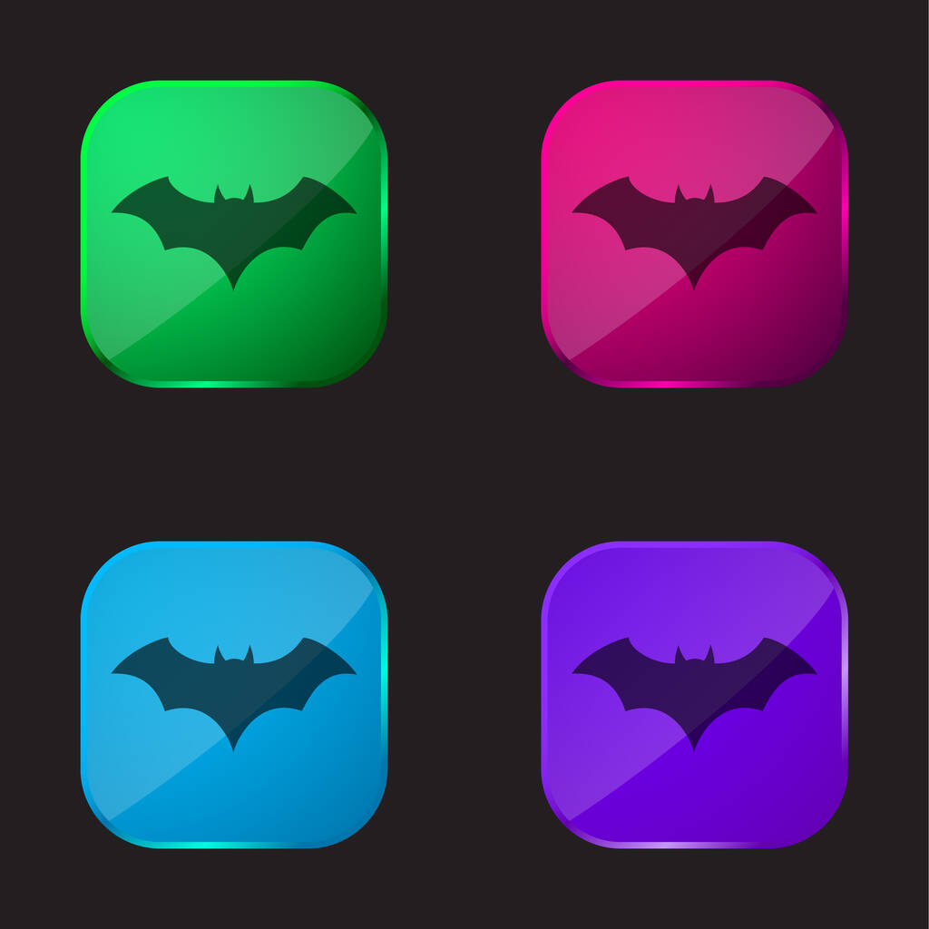 Bat Black Silhouette With Opened Wings four color glass button icon