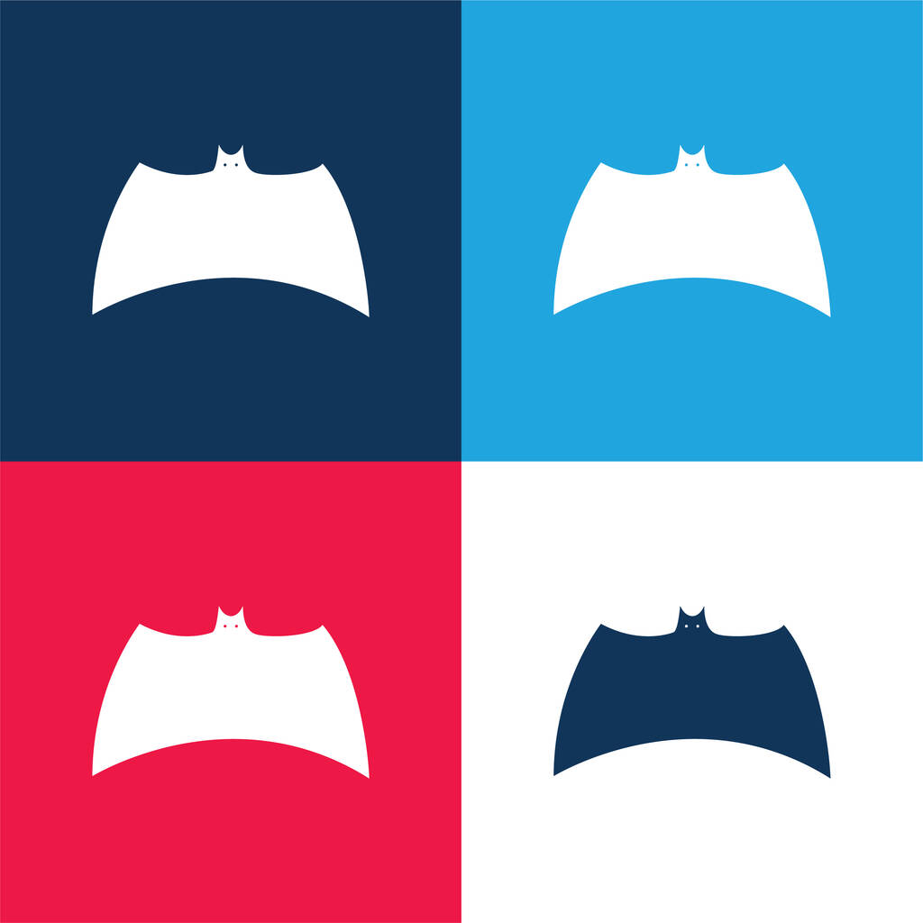 Bat Black Silhouette Variant With Extended Wings blue and red four color minimal icon set