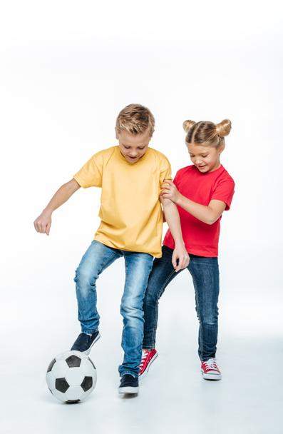 siblings playing with soccer ball - Photo, Image