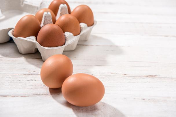 Chicken eggs in box - Photo, Image
