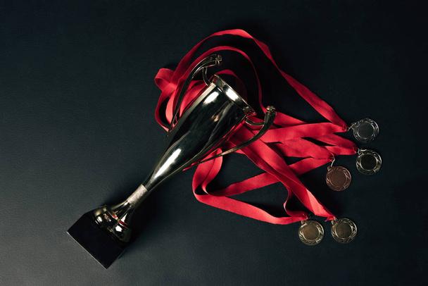 trophies on black floor - Photo, Image