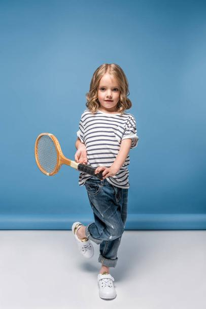 little girl with tennis equipment - Photo, Image