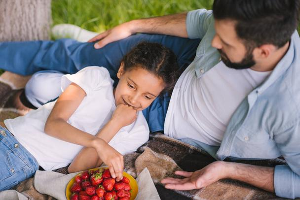 Father and daughter at picnic  - Photo, Image