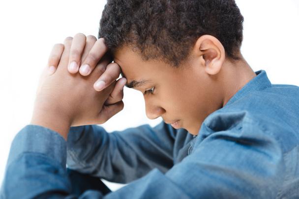 pensive african american teenage boy - Photo, Image