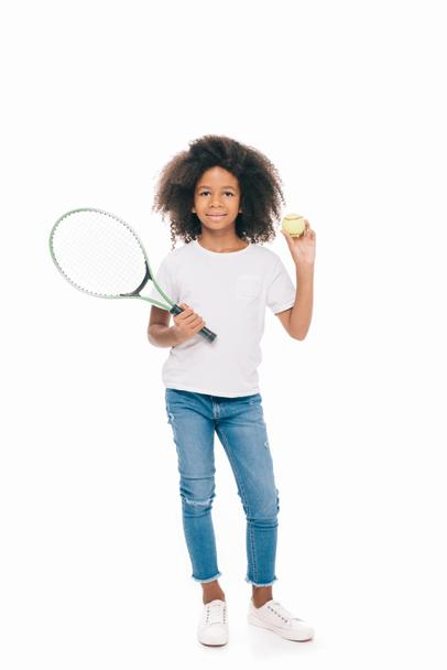 african american girl with tennis racquet - Photo, Image
