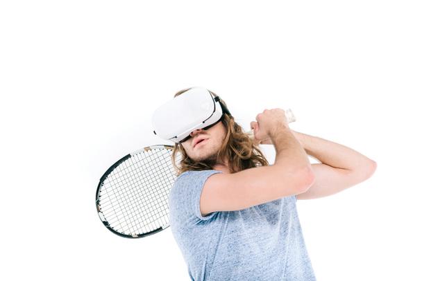 man playing tennis in virtual reality - Photo, Image