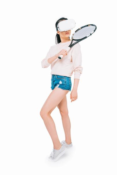 girl playing tennis in virtual reality - Photo, Image