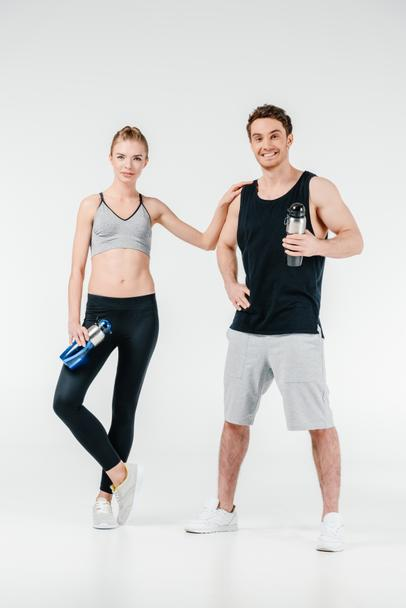 couple with fitness shakers - Photo, Image