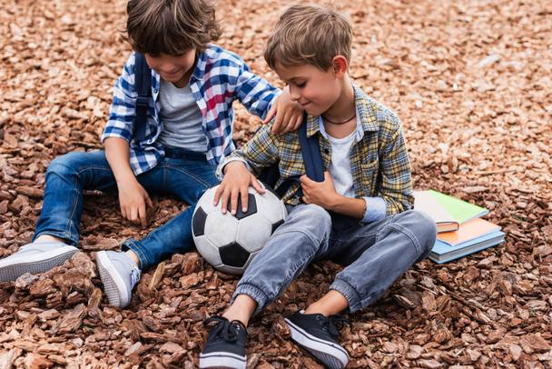 schoolboys with soccer ball - Photo, Image