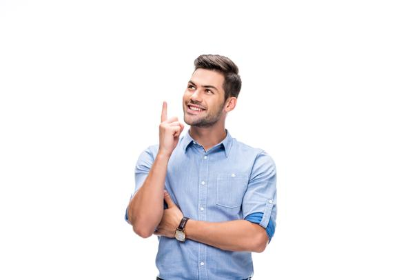 young man pointing up - Photo, Image