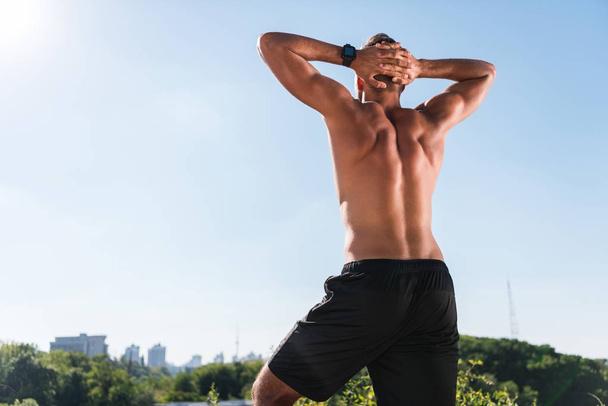 muscular shirtless sportsman  - Photo, Image