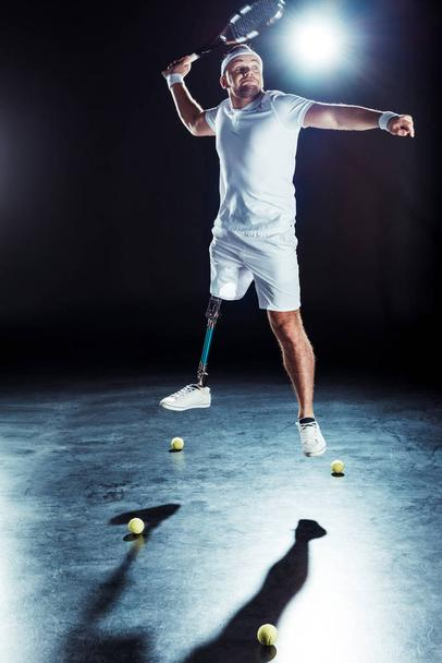paralympic sportsman playing tennis - Photo, Image