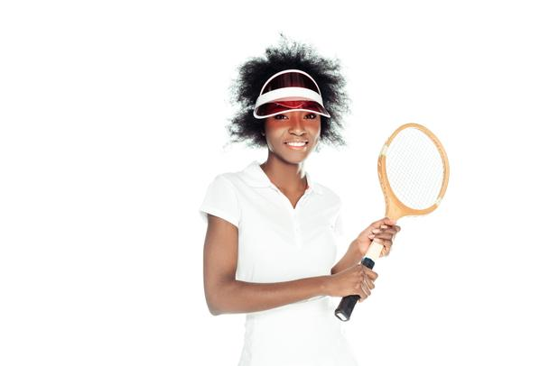 happy young female tennis player with racket isolated on white - Photo, Image