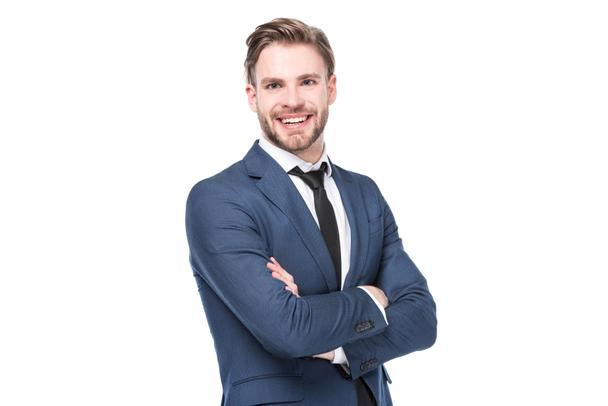 portrait of smiling caucasian businessman with arms crossed isolated on white - Photo, Image