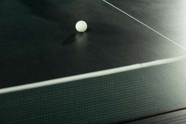 close up view of white tennis ball on tennis table - Photo, Image