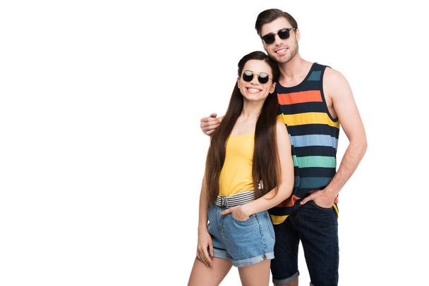 couple in sunglasses hugging isolated on white - Photo, Image