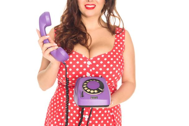cropped shot of plus size woman with vintage rotary phone isolated on white - Photo, Image