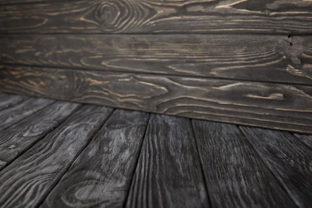 dark grey wooden floor and dark brown wooden wall - Photo, Image