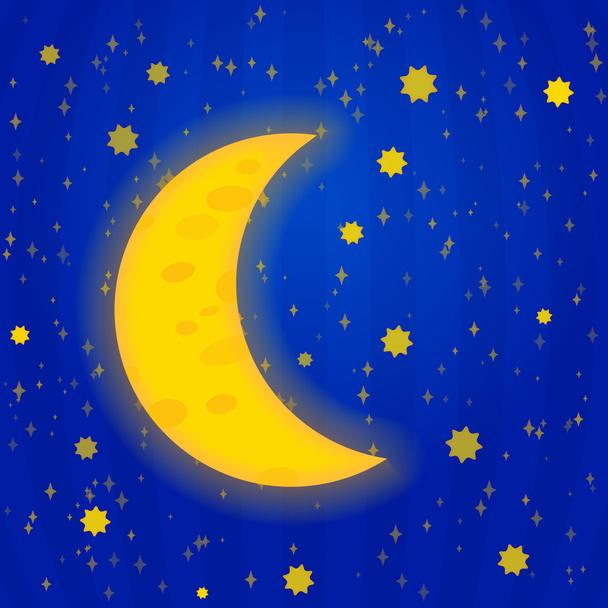 Moonlight night - vector illustration - Vector, Image