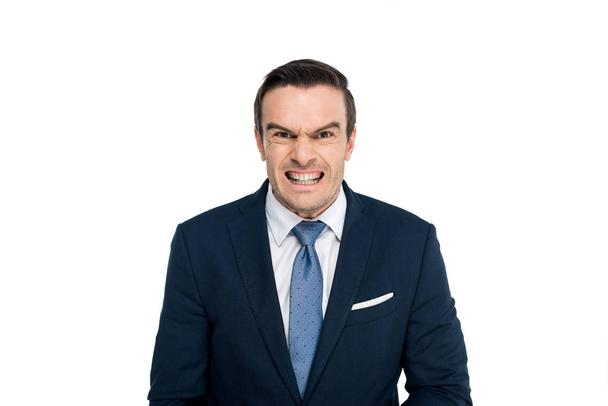 angry middle aged businessman looking at camera isolated on white - Photo, Image