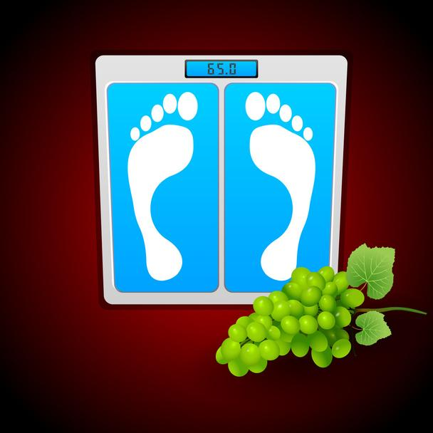 Personal bathroom scale with grape for diet or healthcare concept. Vector illustration. - Vector, Image