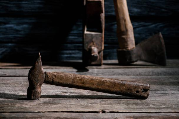 selective focus of vintage carpentry tools arranged on wooden tabletop - Photo, Image