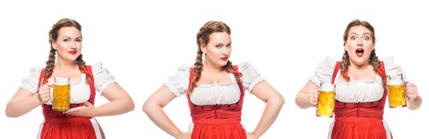 oktoberfest waitress in traditional bavarian dress with light beer in three different positions isolated on white background - Photo, Image