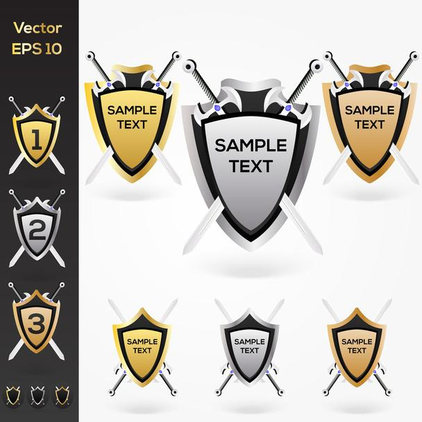 Set of golden, silver, bronze shield and swords - Vector, Image
