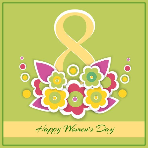 Womens day vector greeting card with flowers - Vector, Image