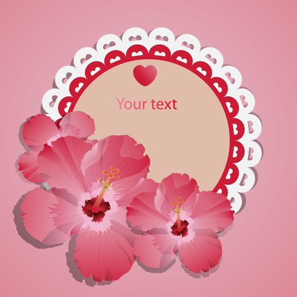 Vector lace frame with pink spring flowers - Vector, Image
