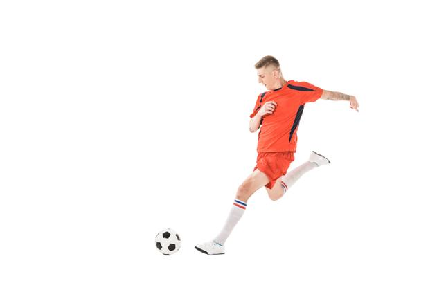 full length view of young sportsman playing soccer isolated on white - Photo, Image