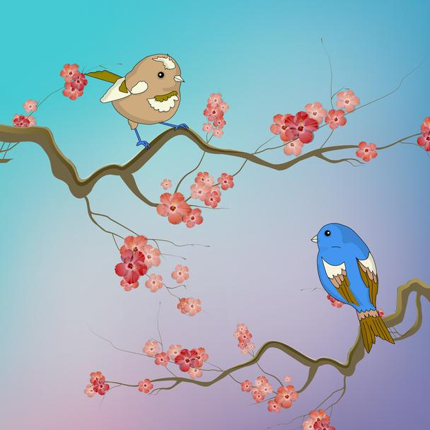 Birds sitting on branches with spring flowers - Vector, Image