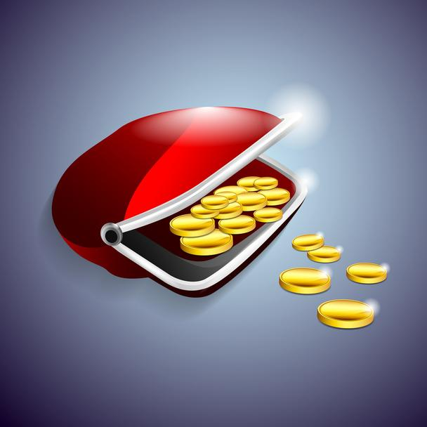 Red purse with gold coins. Vector illustration. - Vector, Image