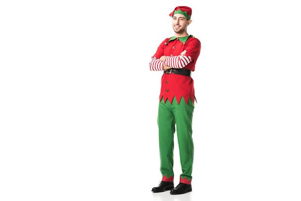 man in christmas elf costume with crossed arms looking at camera isolated on white background - Photo, Image