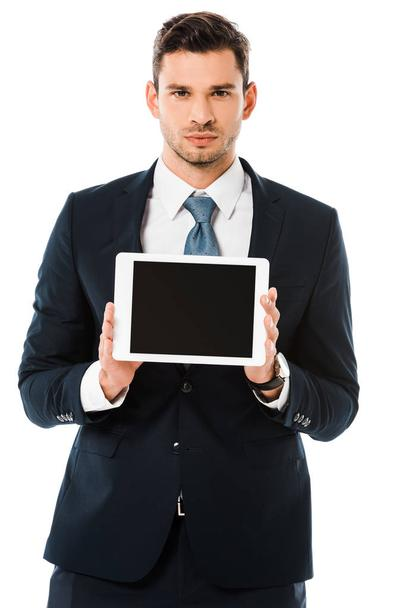 confident businessman holding digital tablet with blank screen isolated on white - Photo, Image