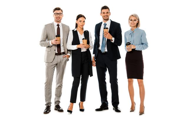 smiling businesspeople having coffee break together isolated on white - Photo, Image