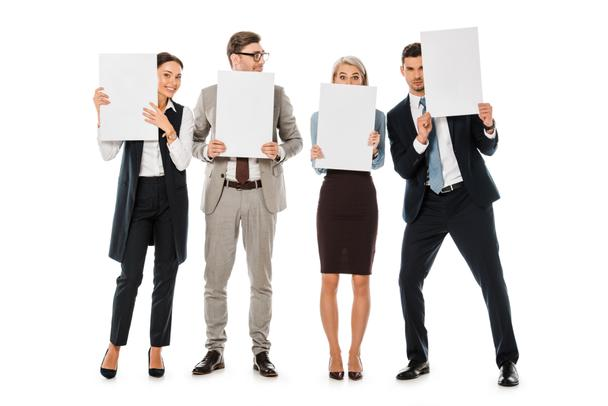executive business team holding blank placards isolated on white - Photo, Image