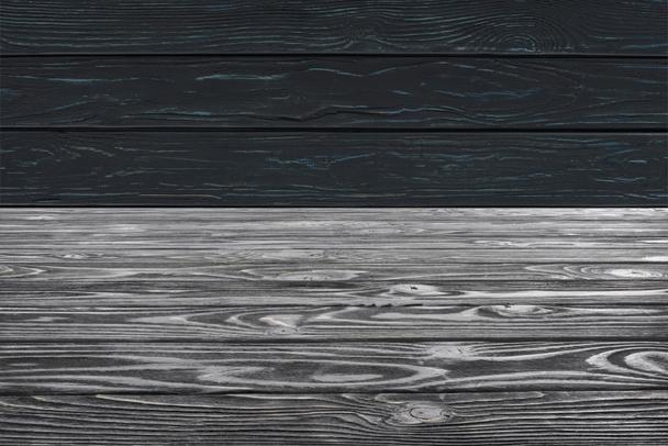 template of grey wooden floor on black planks background - Photo, Image