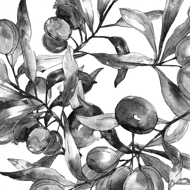 Black olives on branches with leaves. Botanical garden floral foliage. Watercolor background illustration. Seamless background pattern. Fabric wallpaper print texture. - Photo, Image