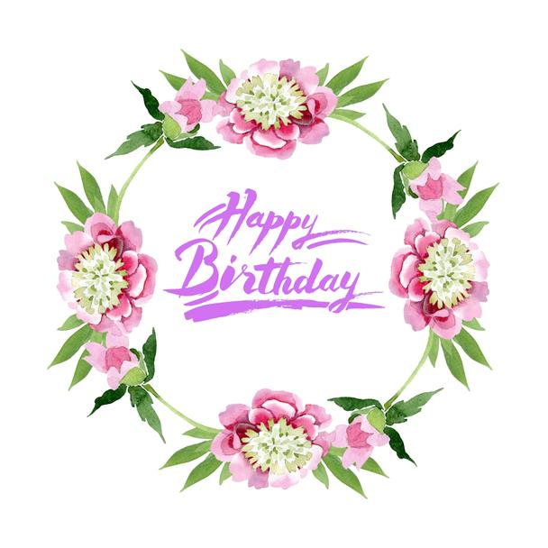 Beautiful pink peony flowers with green leaves isolated on white background. Watercolour drawing aquarelle. Frame border ornament. Happy birthday handwriting calligraphy - Photo, Image