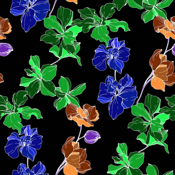 Beautiful blue, orange and green orchid flowers. Engraved ink art. Seamless background pattern. Fabric wallpaper print texture on black background. - Vector, Image