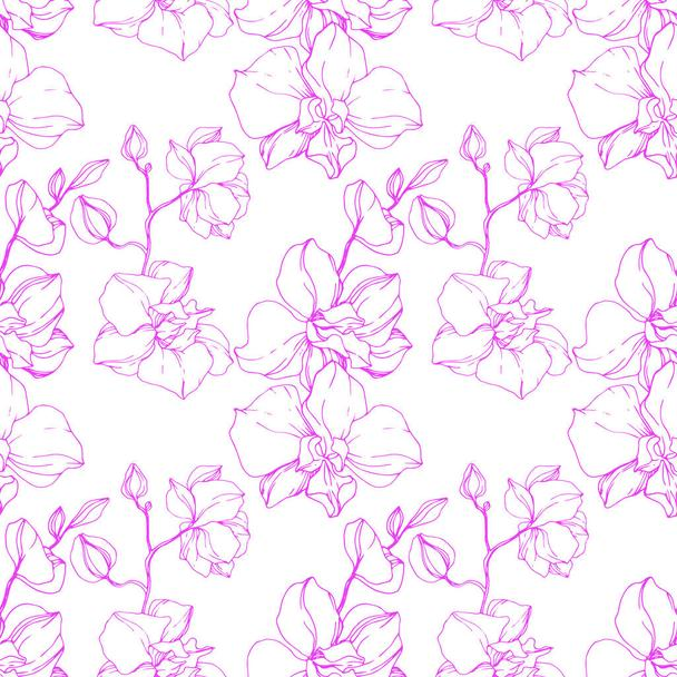 Beautiful pink orchid flowers. Seamless background pattern. Fabric wallpaper print texture. Engraved ink art. - Vector, Image