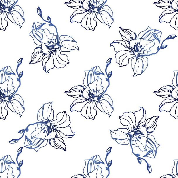 Beautiful blue orchid flowers. Seamless background pattern. Fabric wallpaper print texture. Engraved ink art on white background. - Vector, Image