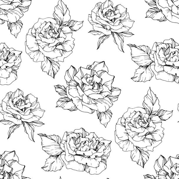 Vector Roses. Black and white engraved ink art. Seamless background pattern. Fabric wallpaper print texture on white background. - Vector, Image