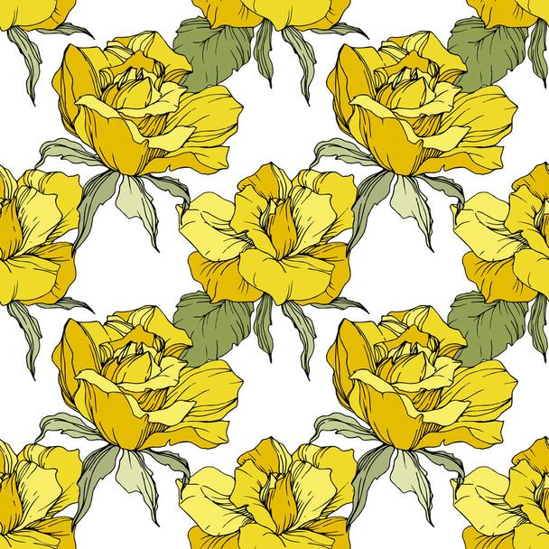 Yellow roses. Engraved ink art. Seamless background pattern. Fabric wallpaper print texture on white background. - Vector, Image